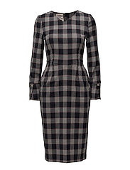 AAMENA DRESS - BLUE RED CHECK