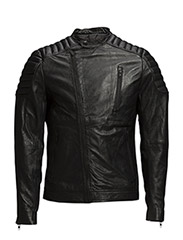 Leather jacket padded shoulder - 997 Jet Black