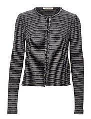Knitted Jacket Short 1/1 Sleev - BLACK/CREAM