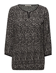 Blouse Short 3/4 Sleeve - BLACK-NATURE