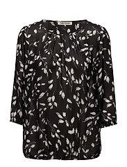 Blouse Short 3/4 Sleeve - BLACK/CREAM