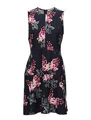 Dress Short without sleeve - DARK BLUE/PINK