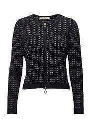 Knitted Jacket Short 1/1 Sleev - DARK BLUE/CREAM
