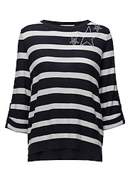 Knitted Pullover Short 3/4 Sle - DARK BLUE/WHITE