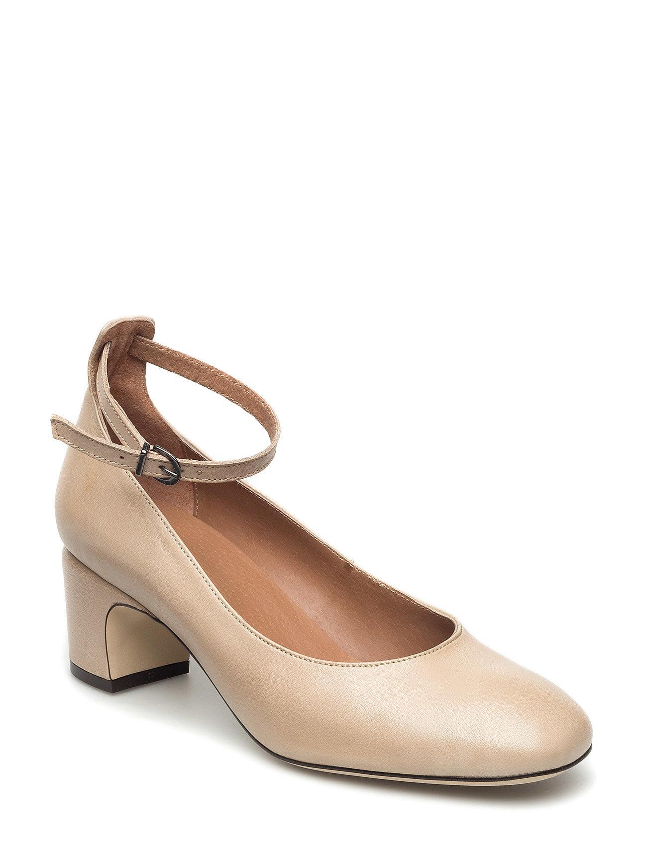 Court Shoe W/Strap Bianco Stiletter til Damer i SAND