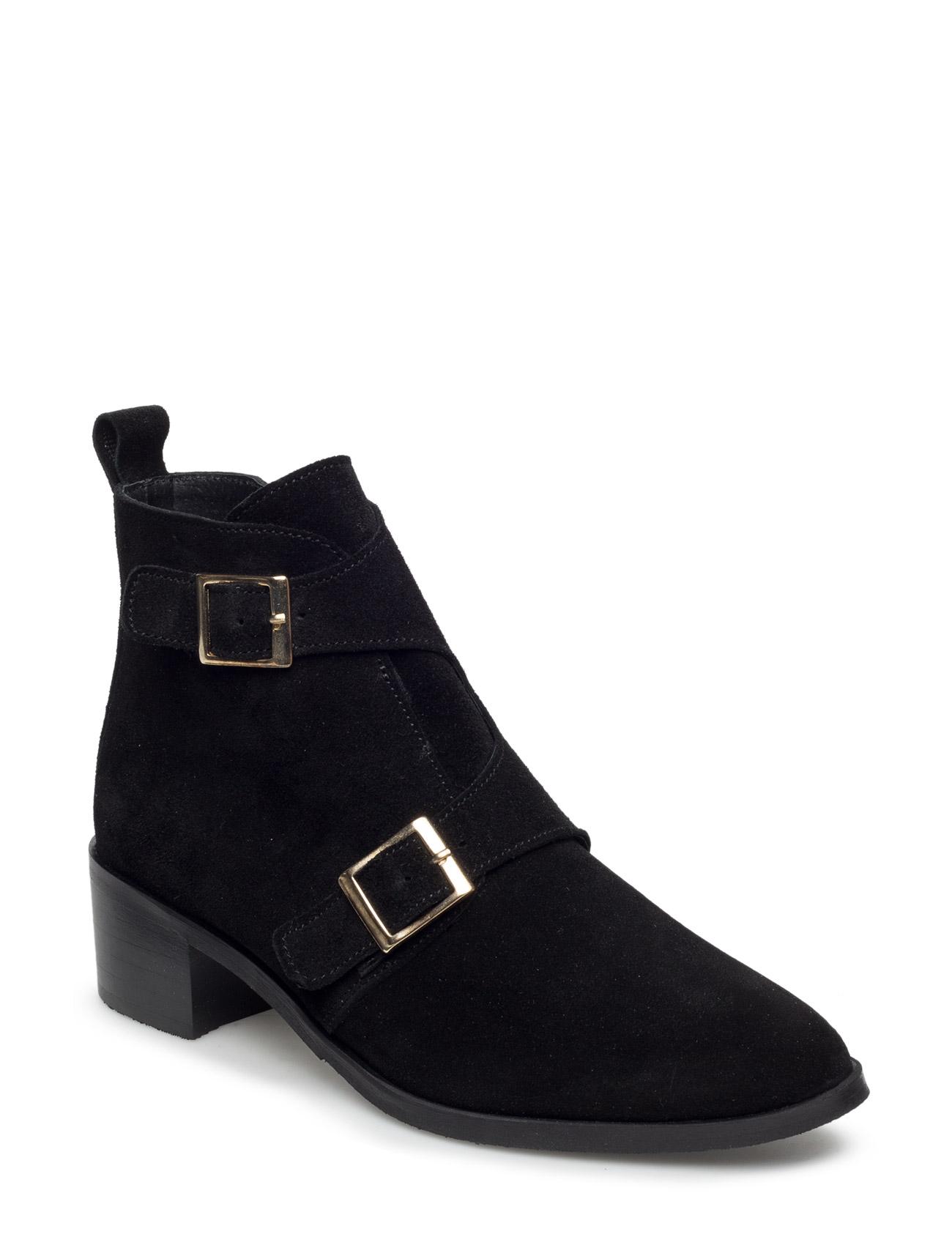 Twin Buckle Boot Son16 Bianco Støvler til Damer i Sort