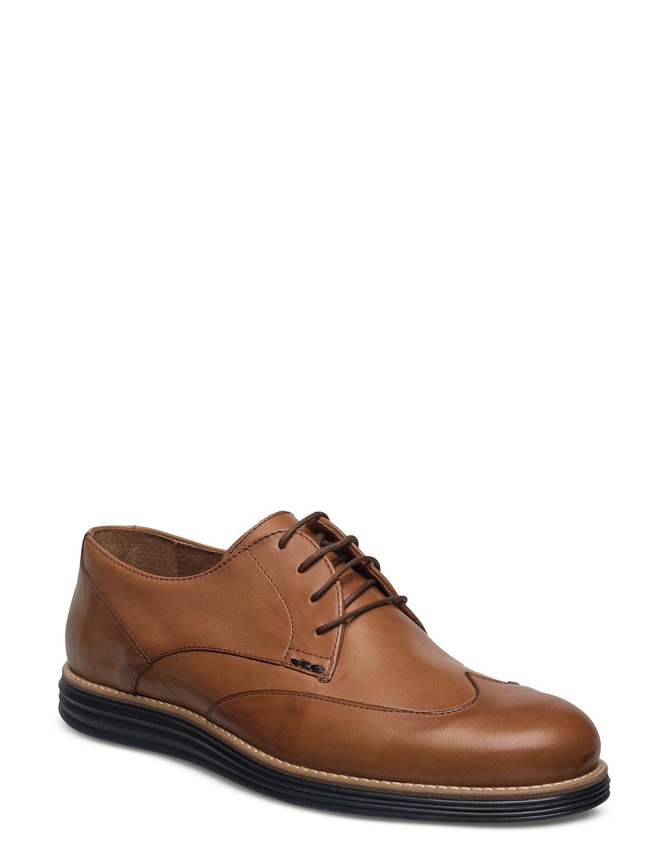 Comfy Wingtip Shoe Jfm17 Bianco Business til Herrer i Lysebrun