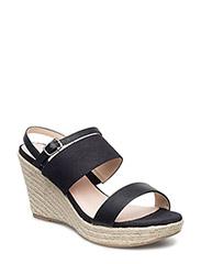 Bast Wedge Sandal MAM16 - BLACK