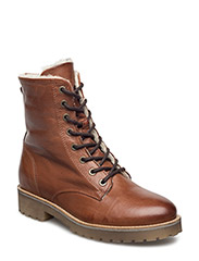 Laced Up Boot W/Wool - LIGHT BROWN