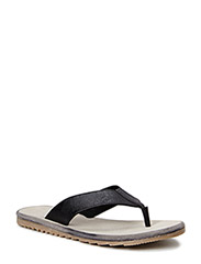 Leather V-slipper MAM15 - Black