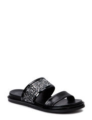 SANDALS - Black calf/silver glitter 803
