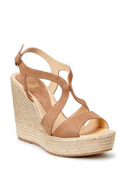 Wedge espadrille with plateau - Beige nude suede 52