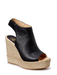 Wedge espadrille with plateau - Black vaqueta 20