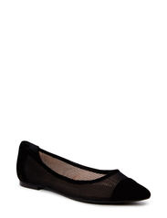 Pointed ballerina - Black suede/mesh 500