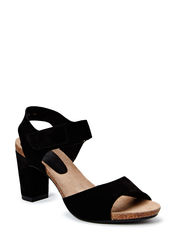 Sandal on soft cork sole - Black babysilk suede 50