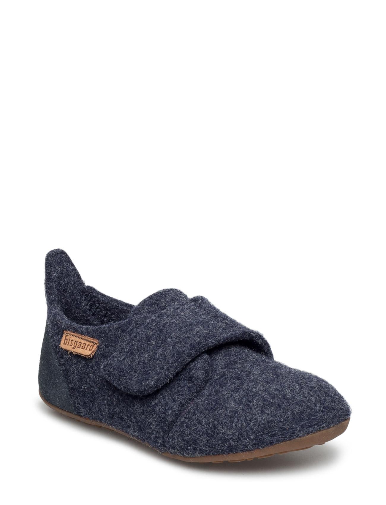 Home Shoe -  Wool Velcro Bisgaard Hjemmesko til Børn i Blå