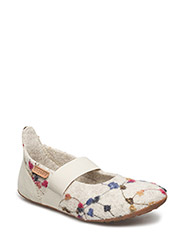 "HOME SHOE - ""WOOL BALLET"" - 171 CREME-FLOWERS"