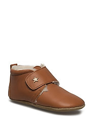 STAR HOMESHOE WITH WOOL - COGNAC
