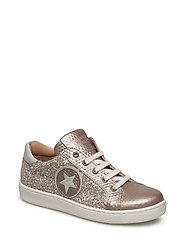 Shoe with laces - GOLD-GLITTER