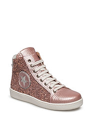 Shoe with laces - ROSE-GLITTER