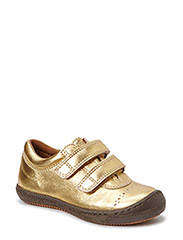 Leather shoe with velcro - Gold