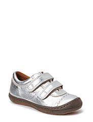 Leather shoe with velcro - Silver