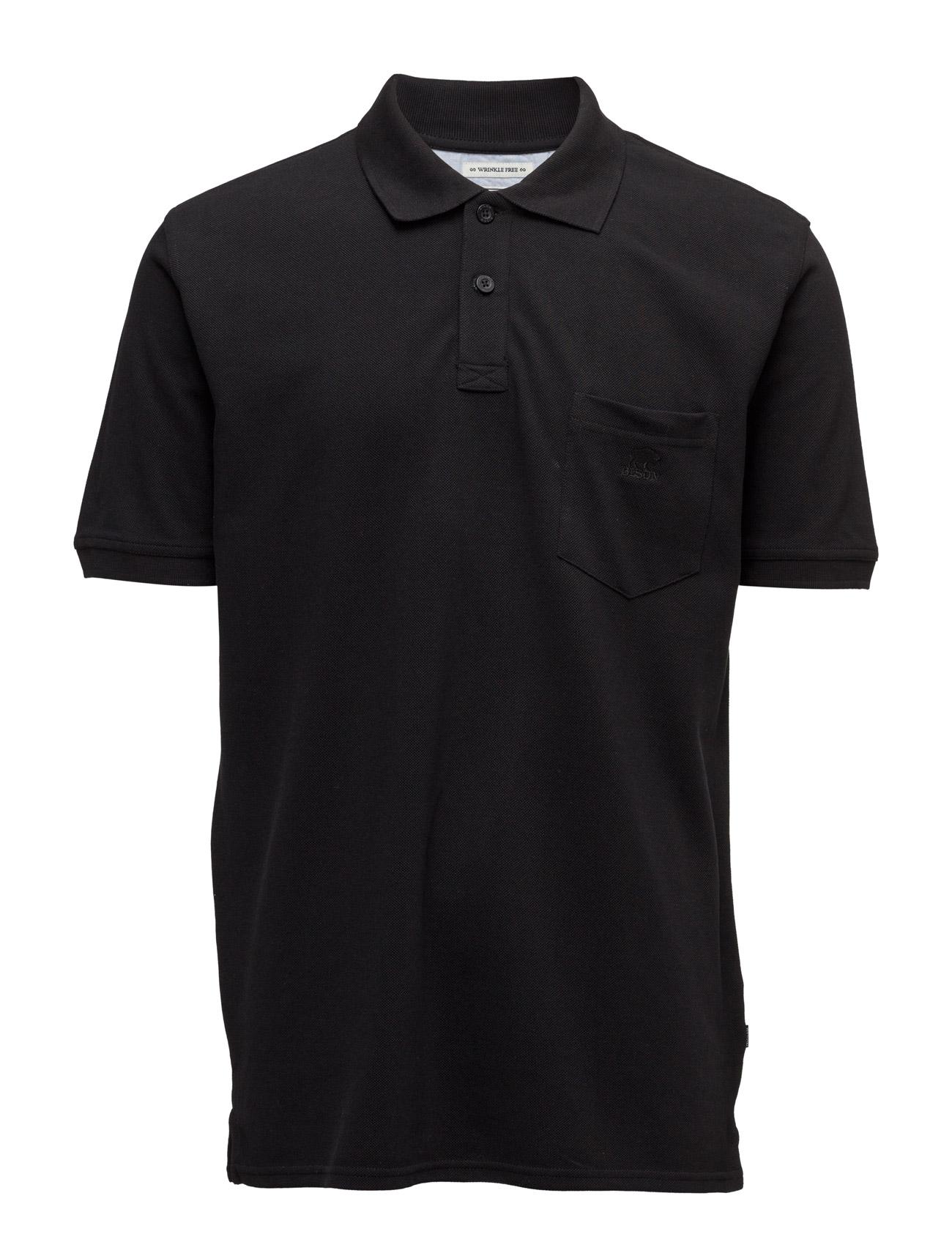 Basicpolopiqué Bison Kortærmede polo t-shirts til Herrer i Sort
