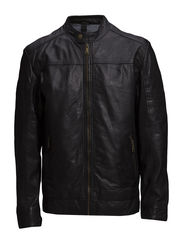 Washed sheep leather jacket - BLACK