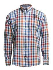 Casual shirt w tape/embr, L/S - ORANGE