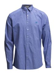 Shirt with printet check L/S - BLUE