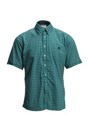 2 tone checked shirt S/S - GREEN