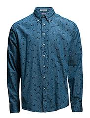 Flowerprintetindigoshirt - BLUE