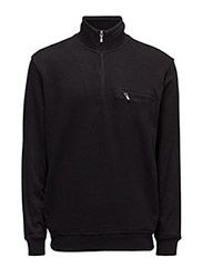 Basic zip neck sweat - BLACK