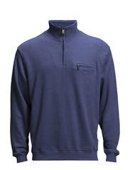 Basic zip neck sweat - BLUE MEL