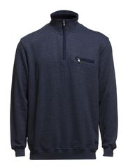 Basic zip neck sweat - NAVY MEL