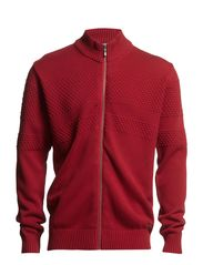 Zip cardigan with pearl knit - RED