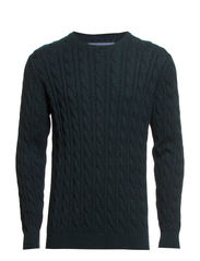 Cable o-neck knit - DEEP GREEN M