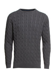 Cable o-neck knit - DK. GREY MEL