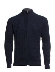 Cable knit cardigan - NAVY MEL