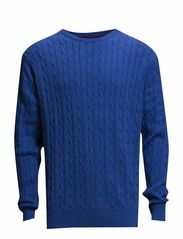 Cable o-neck knit - BLUE MEL