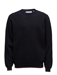 O-neck knit with structure - NAVY