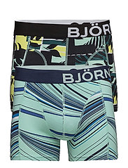 2p SHORTS BB FANCY SPECTRUM & BB COURTLINE SHADE - SHARP GREEN