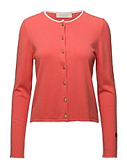 Kee cardigan - LIGHT RED WITH WHITE LINE