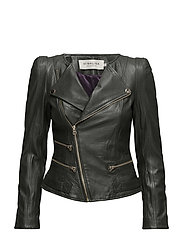 Jade grained leather jacket - HUNTER GREEN