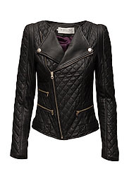 Jade quilted leather jacket - BLACK