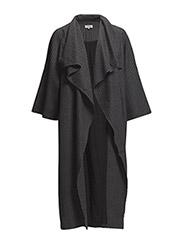 Pinstripe Coat - Dark Grey melange