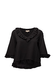 V-Neck Top - Ruffles - 099 BLACK