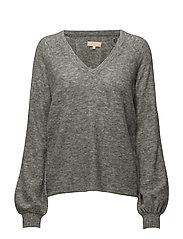 V-Neck Jumper - Velvet Knit - 093 GREY MELANGE