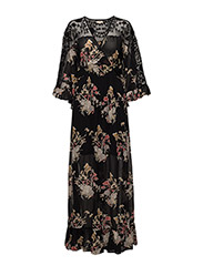 Embroidery Maxi Dress - Vintage Lace - 716 GARDEN MEDLEY BLACK
