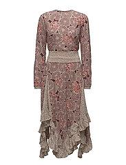 Bohemian Belted Flounce Dress - POPPY